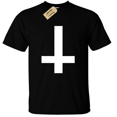 Inverted Cross Mens T-Shirt Black Goth Rock