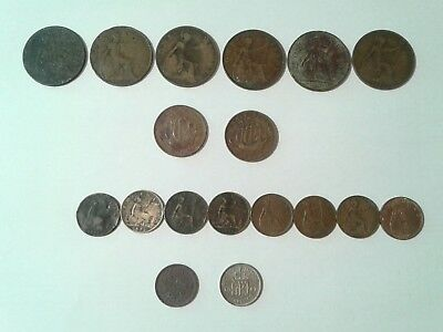 Job lot of old British coins. Pennies, half pennies, farthings and sixpence.