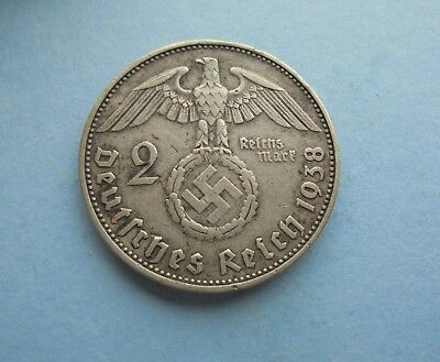 Germany, Third Reich, 2 Reichsmark 1938 E, (Silver), in Good Condition