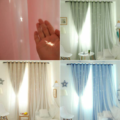 Stars 2 Layers Blackout Curtains Eyelet Ring Top Pure Fabric Curtain Sheer Newly