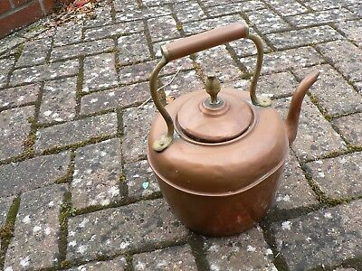 Antique/ Victorian Large Copper And Brass  Acorn Type Finial Kettle