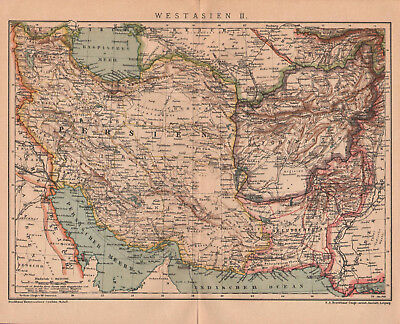 Antique map. ASIA. WESTERN ASIA. PERSIA. AFGHANISTAN. PAKISTAN. 1905