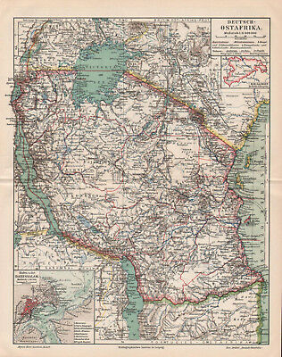 Antique map. GERMAN EAST AFRICA. TANZANIA. 1905