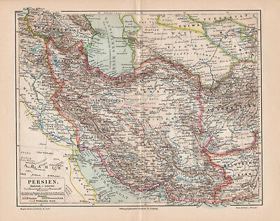 Antique map. ASIA. PERSIA. IRAN. IRAQ. AFGHANISTAN. 1905