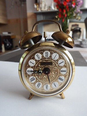 Small vintage Jerger double bell brass alarm clock made in Germany