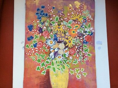 Original Painting A4 Contemporary Vase Of Flowers