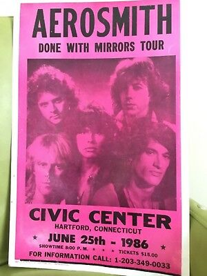 ORIGINAL AEROSMITH Concert Poster Done w/Mirrors 1986 Real Piece of Rock History