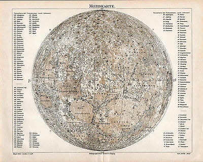 Antique map. MOON MAP. 1905