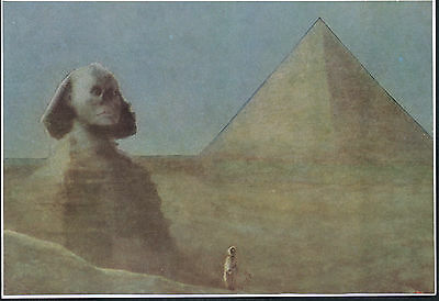 Antique HASSALL Art Print ONCE UPON A TIME Ancient Egypt Great Sphinx & Pyramid