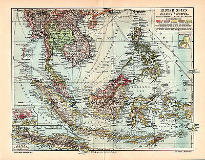 Antique map. SOUTHEAST ASIA. MALAYSIA. INDONESIA. PHILIPPINES. SIAM. JAVA. 1905