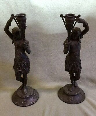 Victorian Egyptian Revival Unique Figural Metal Candlesticks-An Amazing Find!