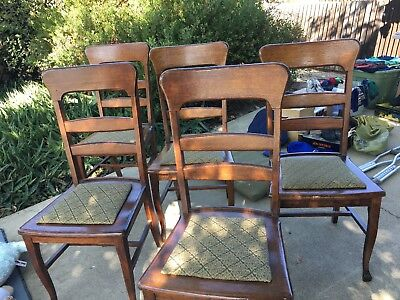 Set Of 5 Antique Dining Room Chairs