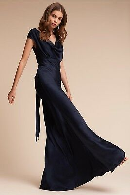 4a46499855 New BHLDN Ghost London Gloss Gown Dress Sz M Navy Formal Bridesmaid Wedding