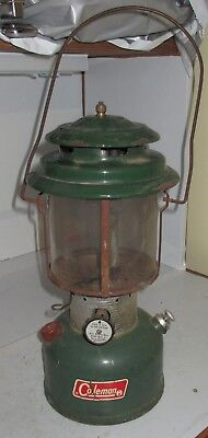 Vintage Coleman 220F Lantern Light Camp Lamp Used Pyrex Glass Camping Green