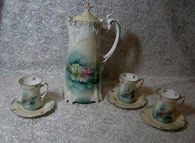 19th Cent. RS Prussia Chocolate Pot Set  W/Cups & Saucers
