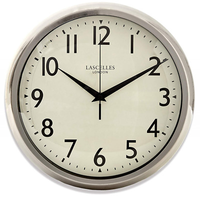 Chrome  Wall Mounted Battery Powered Clock With Sweeping Seconds Hand 30cm