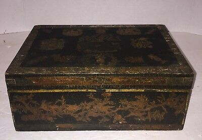 ANTIQUE DOCUMENT BOX OLD Decoupage  Dovetailed EARLY 1800'S Rare