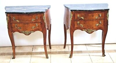 Vintage Figural Bronze French Black Marble Top Night Stands Tables Burl inlays
