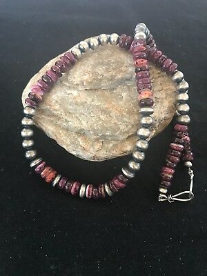 """Native American Purple Spiny Oyster Turquoise Sterling Silver Necklace 20"""""""