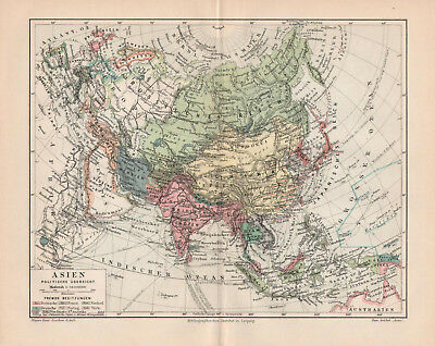 TWO!!! Antique maps. ASIA. POLITICAL & PHYSICAL MAP OF ASIA. 1905