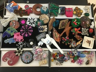 Huge Job Lot Vintage Jewellery Novelty, Xmas Enamel,Handcrafted, Fabric Brooches