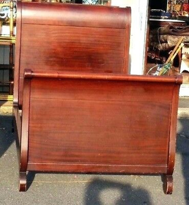 Pair Antique Vintage 1920s Empire Mahogany Wood twin sleigh Bed Frame Set