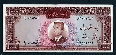 LOT#7 Middle East BANKNOTE 1000 RIALS M.REZA SHAH 1965, Pick 83 BOOK VALUE $350