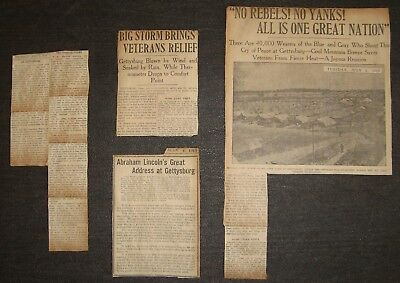 Clippings 1913 Civil War Yanks Rebels Reunion In Gettysburg Blue & Gray 1 Nation