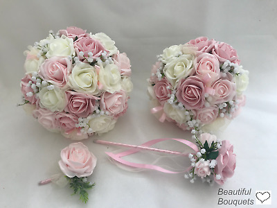 Wedding Flowers Ivory Rose Pink  Bouquets Bride, Bridesmaid Flower-Girl Wand