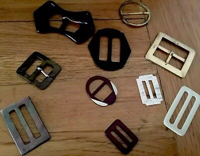 Joblot 10 Vintage Belt Buckles Inc Mother Of Pearl Retro