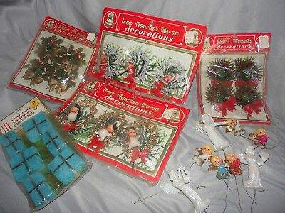 vintage plastic christmas ornament decoration lot wreath gift box original pkg - Vintage Plastic Outdoor Christmas Decorations