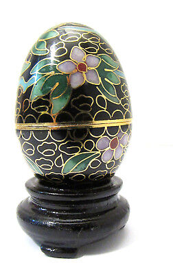 Cloisonné Zierei China 20. Jhd. Messing emailliert email auf Holzsockel (45)