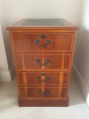 Antique Georgian Style 2 Drawer Filing Cabinet With Leather Detail