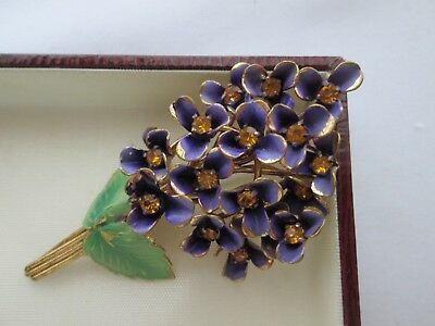 Vintage Jewellery Beautiful Gold Enamel Metal Violet Flowers Art Deco Brooch Pin