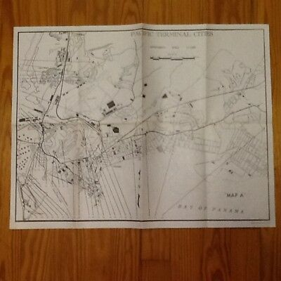1962 PANAMA CANAL ZONE /Panama Street Map Map A Double-Sided