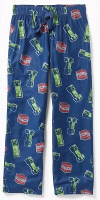 Nwt Old Navy Boys Flannel Minecraft Pajama Bottoms Pants Size Large $23 #357197