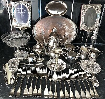 Joblot Of Antique/Vintage Mainly Sheffield Silver Plated Items 7.8kg