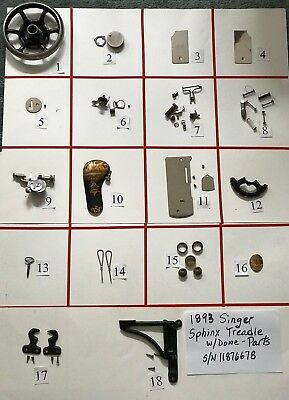 ANTIQUE SINGER SPHINX TREADLE SEWING MACHINE PARTS W/DOME PARTS (Free Shipping)