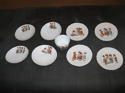 Great Lot Of Porcelain Children's Dishes With Scenes Of Children