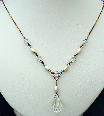 Art Deco Necklace Clear Faceted Swingy Pear Drop & Long Pearl Tubes Vintage 1930