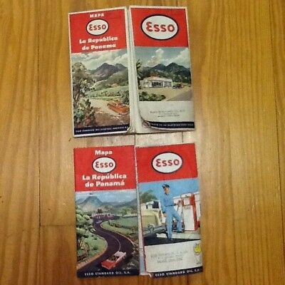 2 Stamped Vintage ESSO Standard Oil S.A. Ltd Republic of Panama Road Map 1960