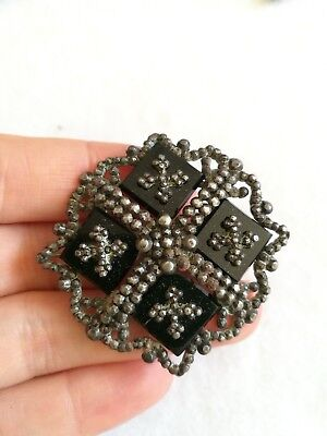 Antique Victorian Georgian Cut Steel Brooch