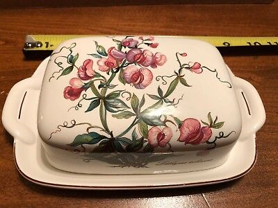 Villeroy And Boch Porcelain Botanica Covered Butter Dish Perfect Condition