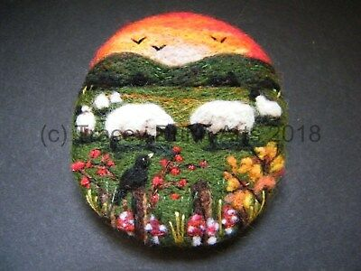 Handmade needle felted brooch/Gift 'Sunset in the Autumn Meadow' by Tracey Dunn