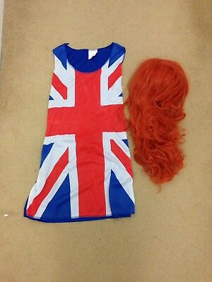geri halliwell Union Jack fancy dress Size 14 And Ginger Spice Wig Worn Once
