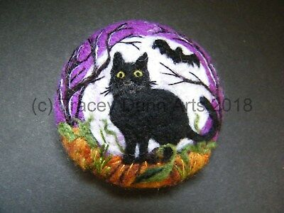 Handmade needle felted brooch 'The Cat and the Bat in ...'  by Tracey Dunn