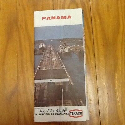 "Vintage 1972 TEXACO Panama / Canal Zone Color Road Map 29"" x 18"" Excellent"