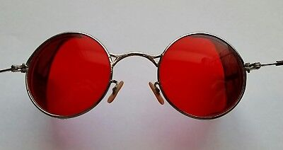 Antique Welsh Red Lens Safety Glasses Goggles Steampunk Aviator Motorcycle WWII