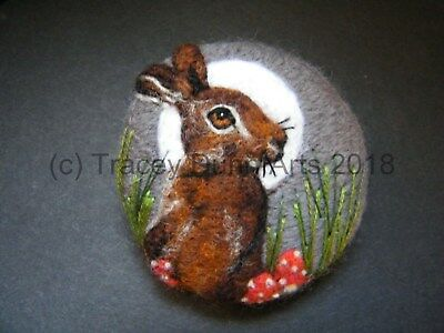 Handmade needle felted brooch/Gift      'The Autumn Hare'    by Tracey Dunn