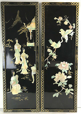 PR Vintage Asian Geisha Colored Mother Of Pearl Shell Wall Panels Black Lacquer